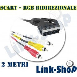 2 Metri Cavo SCART 3 RGB IN / OUT Video Audio Digitale Terrestre Decoder TV DVD