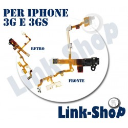 BIANCO Flat Audio Jack Flex ON OFF Volume Mute Connettore per Iphone 3G e 3GS