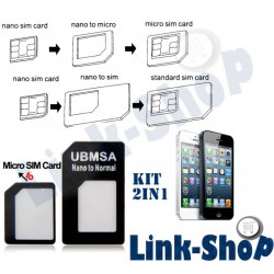 Kit 2in1 Adattatore Convertitore Scheda Micro e Nano SIM Card per Apple Iphone 5 5S 5C 6 Plus