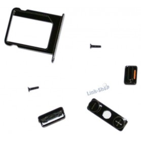 Kit 6 Tasto Volume Muto Silenzioso Standby On Off Viti Porta Sim per Iphone 4 4S