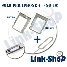 Kit Slot SIM Tray Holder Reggi Porta Supporto + Pins Spillo per Apple Iphone 4 e 4S