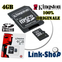Memoria Micro SD HC Originale Kingston 4gb MicroSD Adattatore TransFlash CL 4