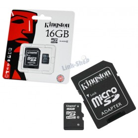 Scheda Memoria Micro SD SDHC Originale Kingston da 16gb MicroSD Adattatore CL 10